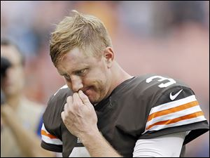 Browns quarterback Brandon Weeden is trying to shake off criticism after his late interception Sunday in a 31-17 loss to the Detroit Lions.