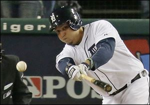 Batting second for the first time since 2004, Tigers slugger Miguel Cabrera hit RBI singles in the second and fourth innings.