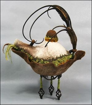 Created in wool fiber, 'Art Nouveau Teapot' by Pamela MacGregor is part of a new show at the American Gallery in Sylvania.