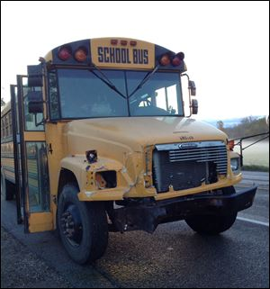 A look at the school bus involved in the accident with the pickup truck in Lenawee County.