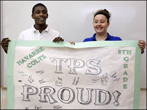 Left to right Amari Britten, 14, and Joanne Werts, 14,  during a TPS PROUD Spirit Day Rally.