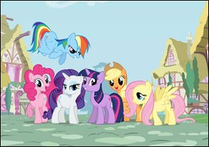 Ponies are, from left, Pinkie Pie, Rainbow Dash (top) Rarity, Twilight Sparkle, Applejack, and Fluttershy.