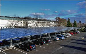 The Toledo Musuem of Art's  new main parking lot features an estimated 300-kw solar panel canopy. The array is owned by a third party that sells its generated power back to the museum.