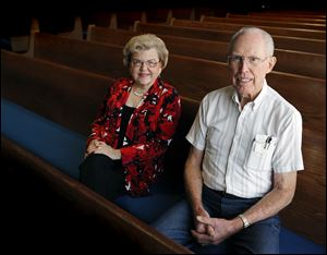 Jeanene Pifer, left, and Horace Huse at the Church of the Brethren.