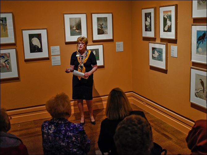 Museum lights Docent Mary Galvin gives a tour of the exhibit of early modern Japanese prints. The new 135 LED lights are enhancing the experience.