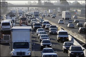 Highway 880 is packed with commuters on Friday in Oakland, Calif.