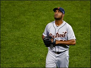 The Tigers' Jose Veras looks up after giving up a grand slam to Boston's Shane Victorino during Game 6 of the AL championship series. Detroit returns a strong core nucleus of players next season.