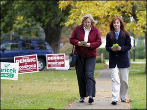 Sue Gluckin, left, and Tiffany Densic are challenging two incumbents for the Rossford school boar