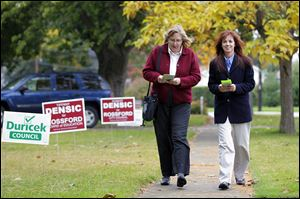 Sue Gluckin, left, and Tiffany Densic are challenging two incumbents for the Rossford school board.