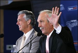 Detroit Tigers manager Jim Leyland waves while announcing he is stepping down as manager during a news conference at Comerica Park in Detroit, Monday.