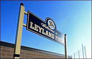 Jim Leyland's name adorns the sign outside of the former baseball field at the current Perrysburg Middle School, above. It is also on the new field that has been built at the high school.