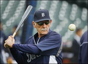 Jim Leyland would regularly hit balls for his infielders before Detroit's games, including prior to an American League Championship Series game against the Red Sox.