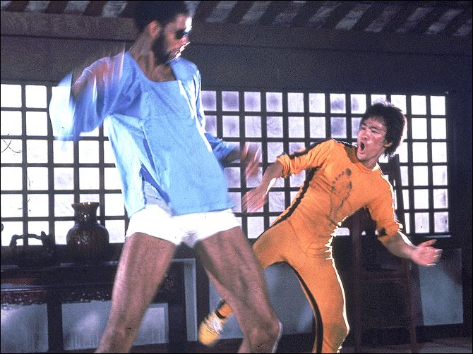 GAME OF DEATH 1978 Martial artist Bruce Lee, right, and basketball star Kareem Abdul-Jabbar are shown in a karate scene from the 1978 movie 'Game of Death.'