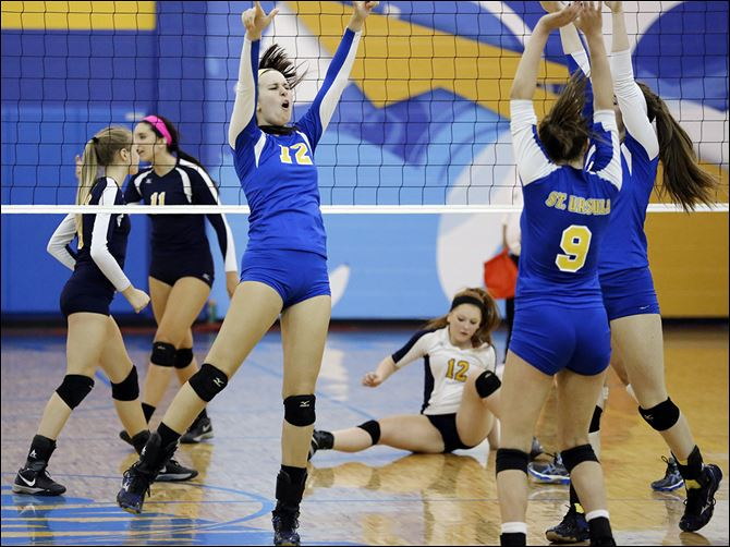 24S5Daudelin Lauren Daudelin celebrates a point against Notre Dame. The senior is second on the team with 133 kills.