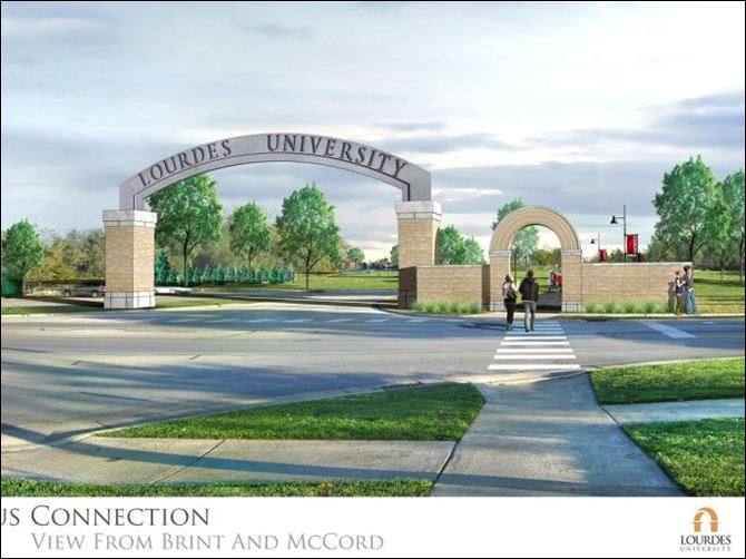 rendering brint entrance Rendering of the Brint Road entrance, with a new archway, to the Lourdes mid-campus.