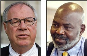D. Michael Collins, left, does not expect to raise as much in campaign donations as Mike Bell.