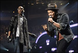 B.o.B, left, is happy that Mars is the halftime performer at Super Bowl XLVIII, especially if he gets an invite to join him onstage. Super Bowl XLVIII will take place Feb. 2 in East Rutherford, N.J.