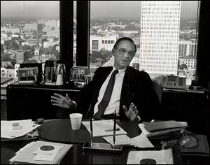 William Boeschenstein, in his office at the Fiberglas Tower in October, 1990, served as president and CEO of Owens Corning from 1971 to 1990.