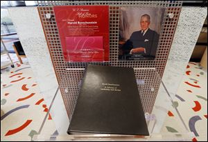A display at Owens Corning's Toledo headquarters honors Harold Boeschenstein, former chairman and CEO.