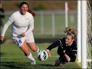 St. Ursula's Maddie Ladd (14) rushes the goal Anthony Wayne's keeper Taylor Hill dives in for the save.
