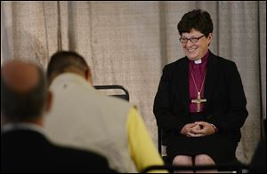 Bishop Elizabeth Eaton of Cleveland after being elected the first female presiding bishop of the Evangelical Lutheran Church of America.