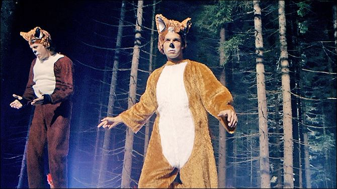 Halloween-Foxes Funny brothers, Norwegian TV hosts, Bard, right and Vegard Ylvisaker, known as Ylvis, prance about in fox suits in their video, 'The Fox (What Does the Fox Say?).'