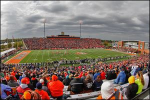 Fans watch as Bowling Green battles the University of Toledo during the first quarter at Doyt Perry Stadium.