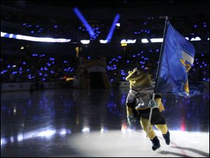 Spike, the Toledo Walleye mascot, took to the ice before the start of the game.