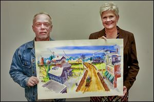 Whitehouse watercolor artist Harry Daugherty shows off his painting depicting scenes of Whitehouse in the early 1900s with the help of Barbara Knisely. Ms. Knisely is the Whitehouse community development coordinator. The community will observe its sesquicentennial in 2014.