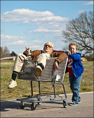 "Johnny Knoxville, left, plays Irving Zisman and Jackson Nicoll plays Billy in ""Jackass Presents: Bad Grandpa,"" from Paramount Pictures and MTV Films."