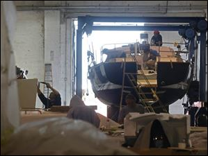 Employees manufacture virtually the entirety of each custom built yacht inside the Hanover Marine facility in Fairport Harbor.