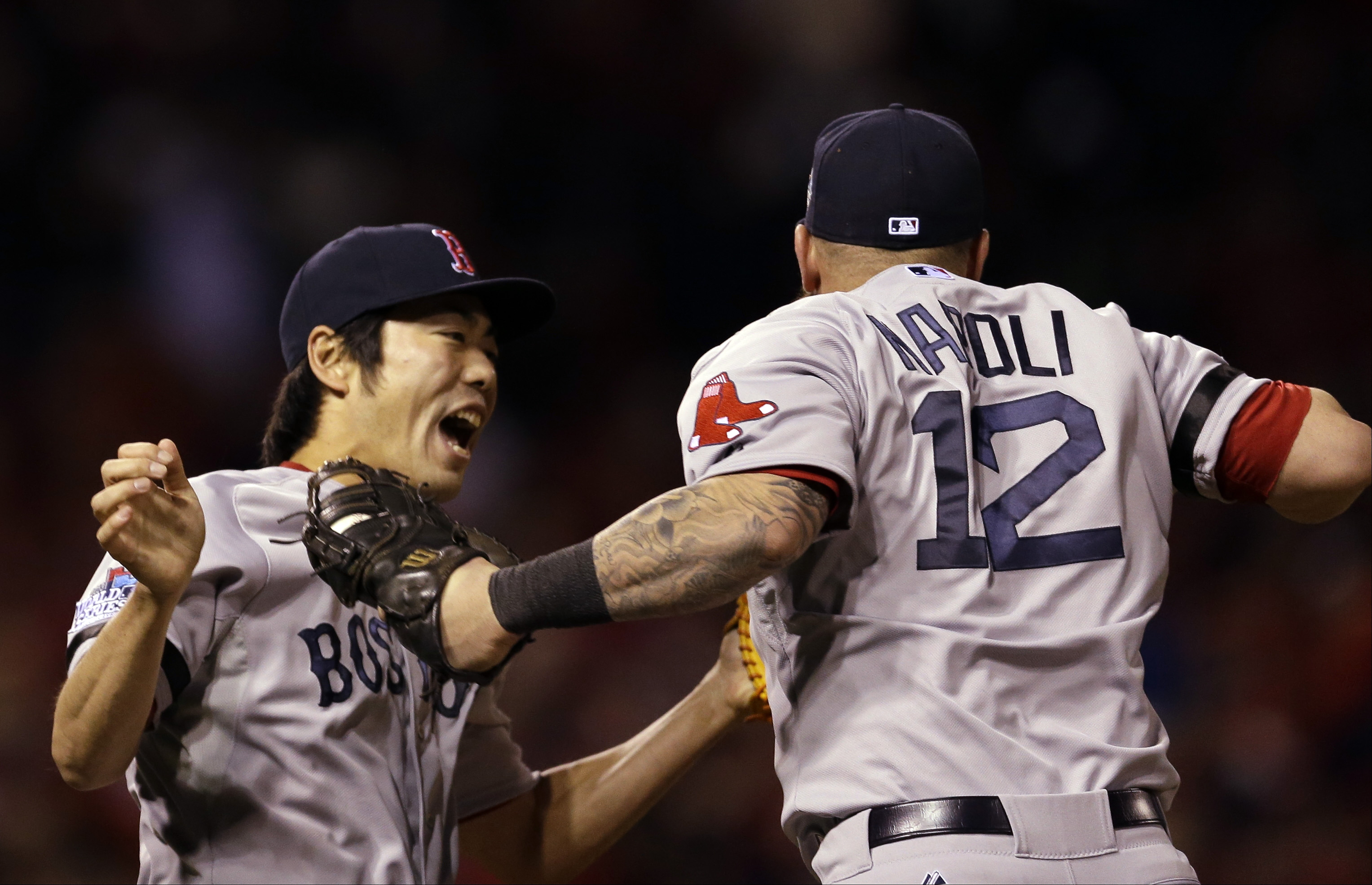 red sox top cardinals  even world series