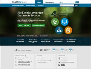 The U.S. Department of Health and Human Services' main landing web page for HealthCare.gov.