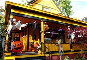 Home at 630 Acklin Avenue decorated for Halloween.