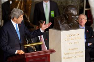 Secretary of State John Kerry speaks in Statuary Hall on Capitol Hill in October during a ceremony to dedicate a bust of Winston Churchill.