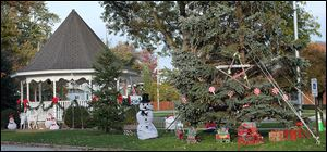 Adams Street Park in Port Clinton is decorated by volunteers for Christmas in honor of Devin Kohlman, 13, who is battling brain cancer.