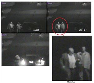 These annotated video frame grab images provided by the Toronto Police Service on Thursday show Toronto Mayor Rob Ford, left, and his close friend, Alexander Lisi. Police say they rummaged through Ford's garbage and conducted a massive surveillance operation monitoring him and Lisi following drug use allegations.