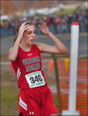 Wauseon's Taylor Vernot reacts after winning the Division II cross country championship in a time of 18:04.4 on Saturday at National Trail Raceway.