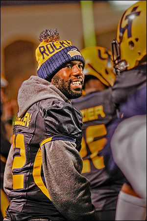 Toledo running back David Fluellen stands on the sideline. The senior missed his first start this season on Saturday.