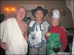 Dave Hinds as Ceasar, Jeff Stober as Fifty Shades of Gray, and Peg Hinds as Top Chef