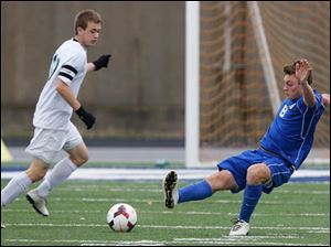 Anthony Wayne's Grant Oliver (8) moves the ball against  Medina.