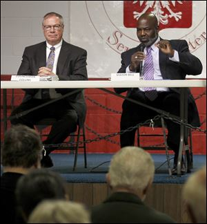 Challenger D. Michael Collins, left, and Mayor Mike Bell have debated vigorously on multiple issues at numerous candidate forums, agreeing on little.