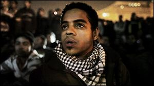 This image from video released by Noujaim Films shows Egyptian activist Ahmed Hassan in a scene from the documentary