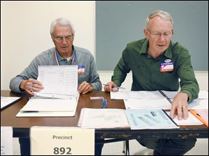 Bob Gyori, left, and Wayne Johnson sign people in to vote at the Rossford Board of Education's Bulldog Hall. Voters rejected a proposal for new school construction.