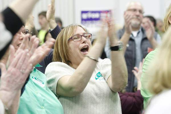 Supporter-Jan-Harmon-applauds-D-Michael