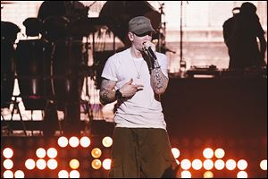 Eminem performs at the G-SHOCK 30th Anniversary event Aug. 7 in New York.