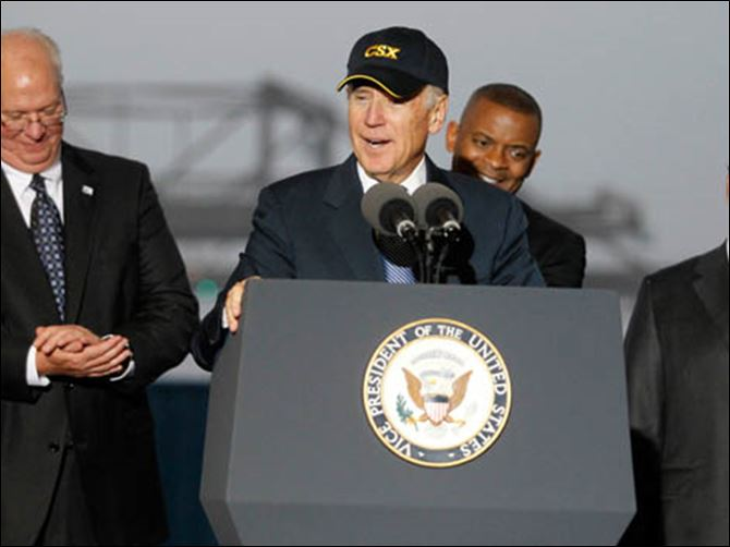 CTY biden14p Vice President Joe Biden speaks to the crowd while touring CSX in N. Baltimore.