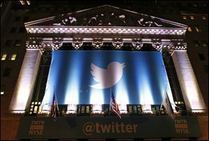 A banner adorns the facade of the New York Stock Exchange in advance of Twiiter's initial public offering today.