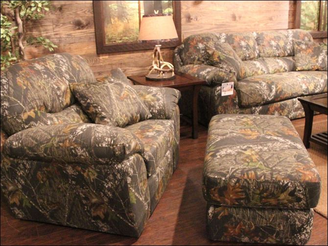 Club chair, ottoman, and pull-out sleeper sofa all by Jackson Furniture for the 'Duck Dynasty' Collection.