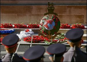Wreaths lie on the Cenotaph during the service in London. The service is on the 11th hour on the nearest Sunday to Nov. 11, when World War I ended in 1918.